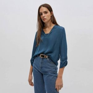 Blusa Escote Pieza Azul