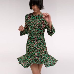 Vestido Mancha Leopardo Verde