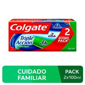Crema Dental Colgate Triple Acción Sabor Menta Original - Pack 2 UN