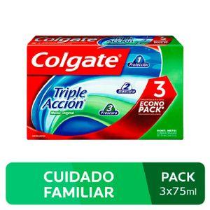 Crema Dental Colgate Triple Acción Sabor Menta Original - Pack 3 UN