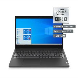 """Laptop 15.6"""" Lenovo IdeaPad 3i Core i3-10 1TB HDD 4GB RAM Negra"""