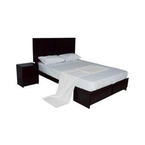 Dormitorio 2 Plz Doncella + 1 Velador + Colchon Resortes Paraiso Marron Oscuro