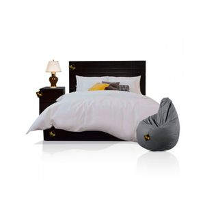 Dormitorio Queen Sicilia + Velador + Puff Nogal