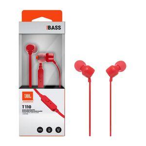 Auriculares Internos JBL T110 con micro sonido real Rojo JBLT110RED