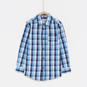 Camisa Popelín Cuadros Azul Marino