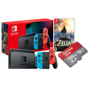 Nintendo Switch Neón Batería Extendida + Zelda Breath Of The Wild + Memoria Micro SD 128 GB