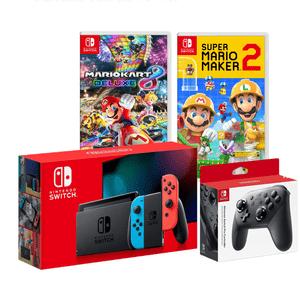 Nintendo Switch 2019 Neón Batería + 2 Juegos Mario + Pro Controller