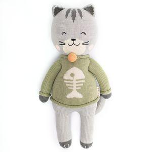 Peluche Fluffy Gato Catulino The Happy Cat XL Grande Gris y Verde