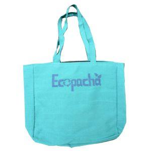 Bolso PET Celeste Hecho 100% Por Botellas de Plástico Recicladas Eco Pacha Medidas 38 x 40 x 10 cm.