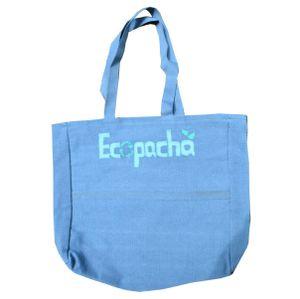 Bolso PET Azul Hecho 100% Por Botellas de Plástico Recicladas Eco Pacha Medidas 38 x 40 x 10 cm.
