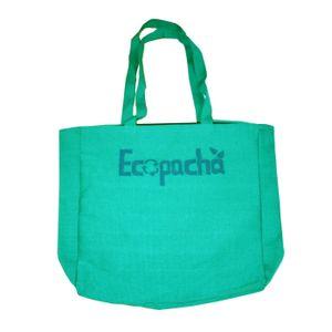 Bolso PET Verde Hecho 100% Por Botellas de Plástico Recicladas Eco Pacha Medidas 38 x 40 x 10 cm.