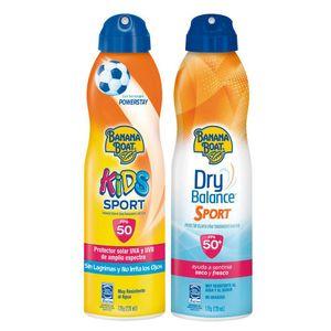 Pack Banana Boat Dry Balance Sport C-Spray FPS50+ 170g + Kids Sport Protector Solar C- Spray FPS50 170g