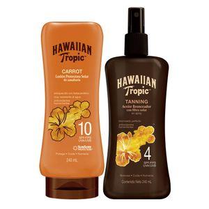 Pack Hawaiian Tropic Carrot Loción Protectora Solar FPS10 240 ml + Aceite Bronceador Tanning FPS4 Spray 240 ml