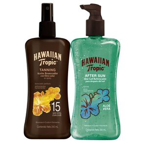 Pack Hawaiian Tropic After Sun Gel Aloe Vera 240 ml + Aceite Bronceador Tanning  FPS15 Spray 240 ml