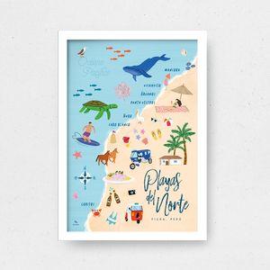 Cuadro Playas del Norte con Marco Blanco