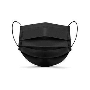 Mascarilla Quirúrgica 3 Pliegues Pack 50 Unidades Color Negro Tres Capas