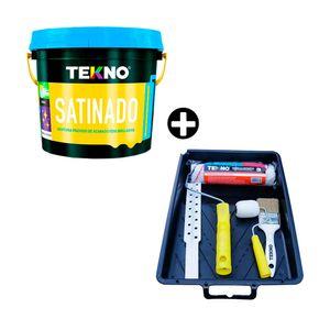 COMBO Pintura satinado Gris Claro 4 litros + Kit pintor Tekno
