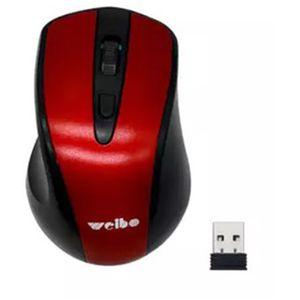 Mouse Óptico Inalámbrico USB Weibo 2.4 Ghz Wireless Negro/Rojo