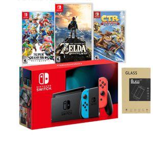 Nintendo Switch 2019 Neón + Crash Racing + Super Smash + Zelda + Mica