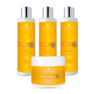 Pack Capilar Hidratante Qéira de Quinua Dorada Orgánica 2 Shampoos + 1 Acondicionador + Mascarilla