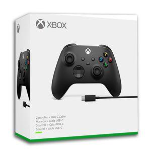 Mando de Xbox One Series X + Cable USB Compatible con Windows 10 Negro