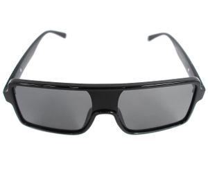 Lentes de sol cuadrados grandes con marco negro y lunas negras modelo Black Campers Blinders
