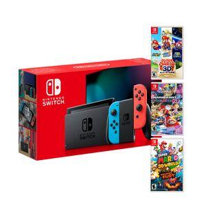 Consola Nintendo Switch 2019 + Super Mario 3D All Star + Mario Kart 8 + Super Mario 3D World