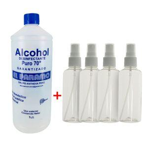 Alcohol Desinfectante 70° + 4 Envases Porta Alcohol Spray 75 ml