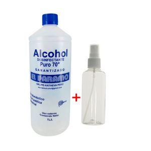 Alcohol Desinfectante 70° + 1 Envase Porta Alcohol Spray 75 ml