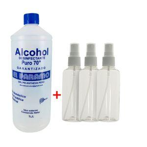 Alcohol Desinfectante 70° + 3 Envases Porta Alcohol Spray 75 ml
