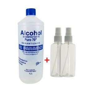 Alcohol Desinfectante 70° + 2 Envases Porta Alcohol Spray 75 ml
