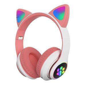 Audífono Auricular Gamer Gato Bluetooth Rosado