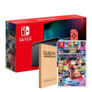 Nintendo Switch 2019 Neon Bateria + Mario Kart 8 + Lamina de Vidrio