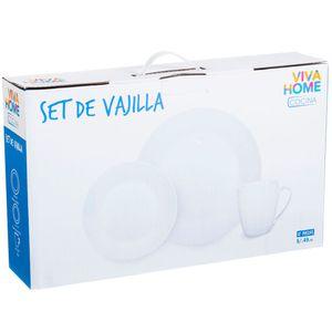 Set de Vajilla VIVA HOME Blanco 12pzas
