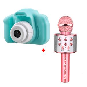 Cámara de Fotos para Niños Color Verde más Parlante Micrófono Karaoke Bluetooth Color Rosado