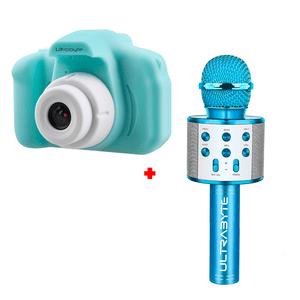 Cámara de Fotos para Niños Color Verde más Parlante Micrófono Karaoke Bluetooth Color Azul