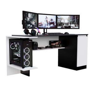 Escritorio Gamer NRO02 167cm Movenda Muebles Negro con Blanco