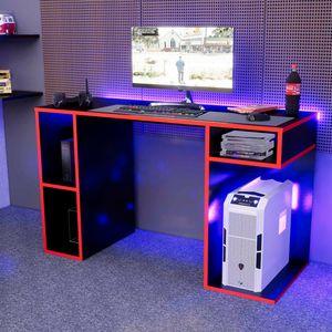 Escritorio Gamer NR01 Movenda Muebles Negro con Rojo