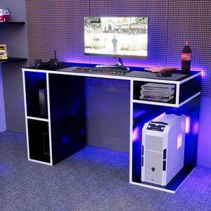 Escritorio Gamer NR01 Movenda Muebles Negro con Blanco