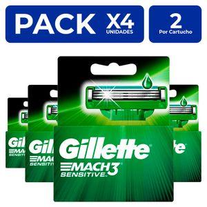 Cartuchos Gillette Mach3 Sensitve 2 unidades PackX4