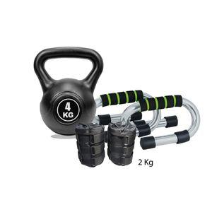 Combo Fitness Par de Pesas Tobilleras 2Kg Negro +Push Up+Pesa Rusa (Negra) 4 Kg