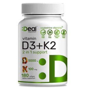 Vitamina D3 Deal Supplement 5000iu + K2 180 Cápsulas