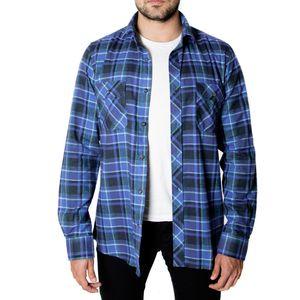 Camisa Manga Larga Flannel Touch Azul Francia
