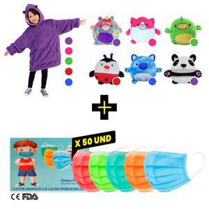 Combo Polera Huggle Pets + Mascarilla 3 Pliegues de Colores x 50 Und