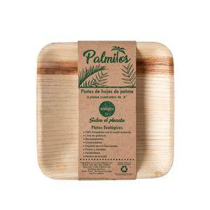 Platos Palmitos Cuadrados de 15cm Pack x6