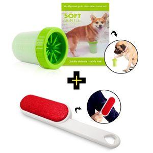 Limpiador de Patas para Perros + Cepillo Quitapelusa