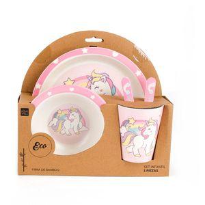 Set Infantil Melamina Unicornio Homewell