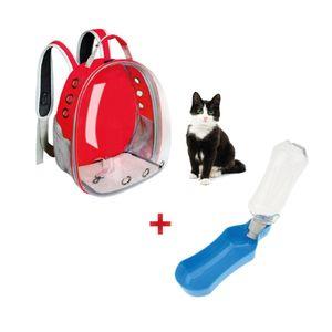 Combo Mascotas Mochila Transportadora Transparente+ Bebedero Portátil