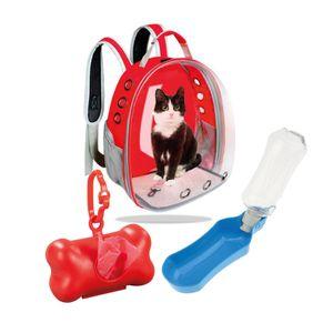 Combo Mascota MochilaC/Tapa Transparente+Bebedero+Dispensador