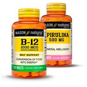 Pack Memoria + Defensa Mason Natural  Espirulina 500MG & Vitamina B12 1000 x 100 tabletas